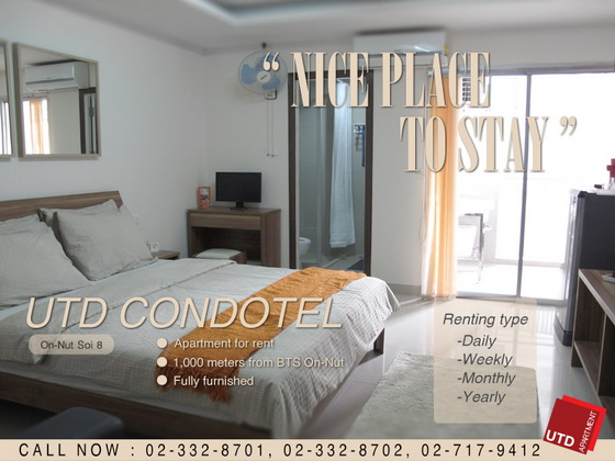 Apartment for Rent on Nut ใกล้ BTS on Nut เริ่มต้น ฿7500-Daily, Weekly, Monthly
